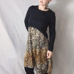 ZARA Leopard and Black Ribbed Long Sleeve Dress